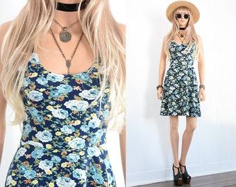 90s Floral Dress 90s Grunge Dress Floral Mini Dress Fit and Flare Dress 90s Dress Floral Dress Vintage 90s Clothing Vintage Floral Dress XS