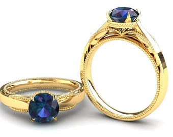 Alexandrite Ring 1.50 Carat Color Change Alexandrite Solitaire Engagement Ring In 14k or 18k Yellow Gold SJW1ALEXY