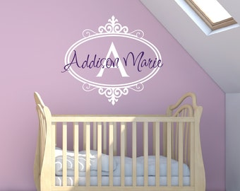 Girls Name Wall Decal - Girl Wall Decal - Childrens Wall Decals - Monogram Name Vinyl Lettering