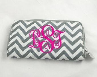 Monogrammed Zipper Wallet
