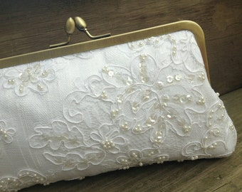 White Bridal Clutch, Lace Wedding Clutch, Formal Purse, Pearl Bridal Clutch (Empress Lace & Pearl Bridal Clutch)