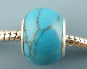 LAMPWORK bead made of TURQUOISE CHARMS 10x14mm