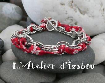 Bracelet chaîne doubles maillons ovales et liberty rouge à fleurs fermoir toggle rond