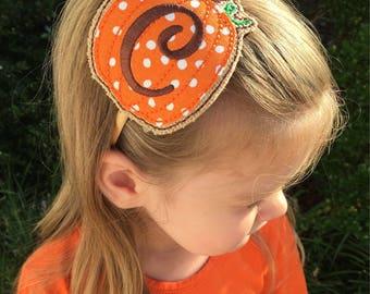 Fall Pumpkin Personalized Initial Headband / Fall Girl Accessory / Pumpkin Outfit