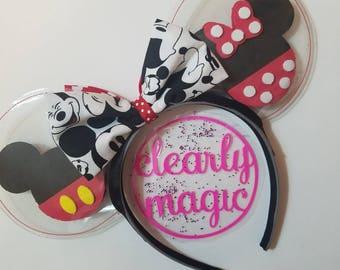 Classic Minnie & Mickey - clear ears - reversible ears - minnie ears - Walt Disney World - rock the dots - glitter ears - - disney ears