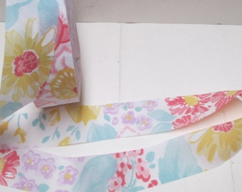 """Bias Tape 9+ yd Floral Ribbon Trim 1.25"""" Vintage Cotton Quilt Binding Flat Strip Edging Sewing YardageFlowered Bias Cut Tape Lot  BTY"""