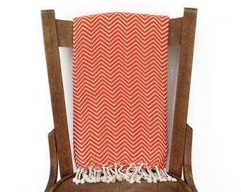 Türkische Handtuch Pestemal Couch werfen Sofa Throw Tagesdecke Strand Decke handgewebte Baumwolle türkisches Bad Handtuch Fouta Tuch ORANGE CHEVRON LALE