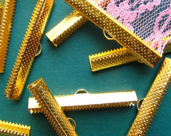 10 pieces 40mm or 1 9/16 inch Gold Ribbon Clamp End Crimps