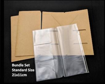 Bundle Kit Inserts for Travelers Notebook, 1 Set, PVC, Kraft, Paper Refills Blank, Standard Size