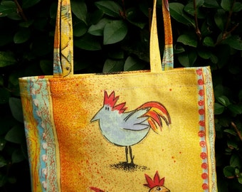 Small tote bag, chicken bag, gift bag, reusable bag, present bag