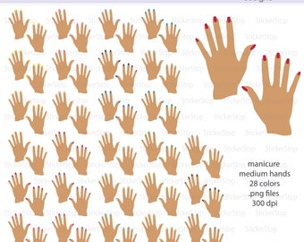 Manicure Medium Hands Icon Clipart in Rainbow Colors - Instant download PNG files