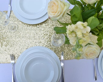 Light gold sequin table runners, Sequin Table Runners, Wedding Table Runners