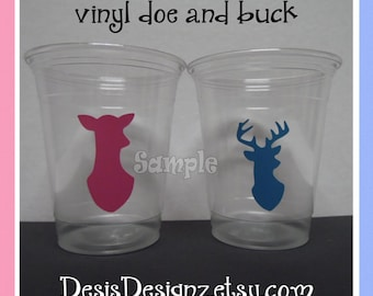 24 Gender reveal Buck and Doe vinyl decals 12 oz. 16 oz or 20 oz. clear party cups Baby shower decorations girl boy sprinkle party