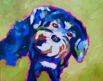 Animal Nursery Art Home Decor Wall Art Modern Impressionist Original  Palette Knife Oil Painting of Morkie Dog by Rebecca Croft