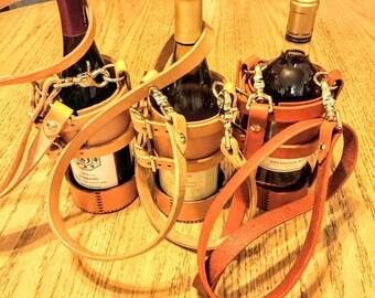 Leather Wine over-the-shoulder holder/ caddy
