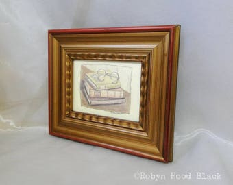 Vintage Books with Reading Glasses Framed to 10 X 12