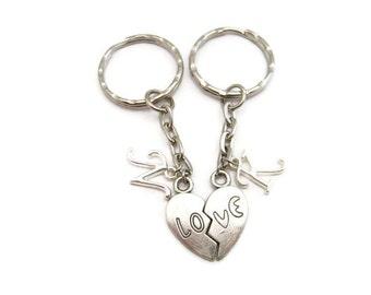 Love Keychain Set Initial Split Heart Keychain Set Personalized Best Friends Keychain Set Couples Keychain Set Mother Daughter Keychain Set