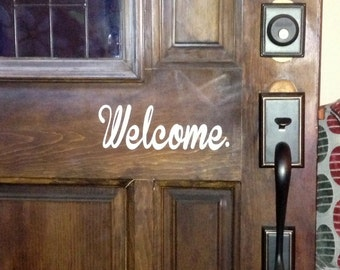 Welcome & Goodbye Front Door Back Door Sticker SET! 2 Decals FREE SHIPPING!