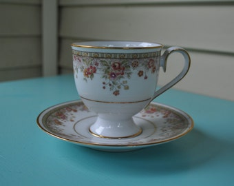 Vintage Noritake Footed Cup and Saucer Morning Jewel
