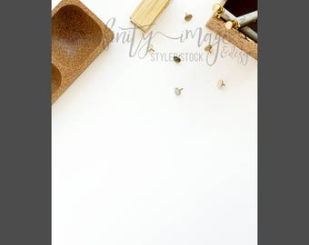 White Vertical Styled Stock Product Photography Background w/Green & Brown Notebook, Journal, Pen, Stapler / High Res File #INF107SS