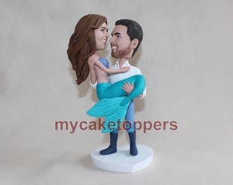 mermaid wedding cake topper, mermaid bobbleheads, mermaid, sea-maid, sea-maiden, personalized mermaid cake topper, hand made look like you
