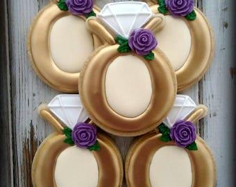 Diamond Ring Cookies, Engagement Cookies, Wedding Ring Cookies, Wedding Cookies, Bridal Shower Cookies