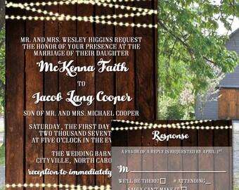 Rustic Barn Wood and String Lights Wedding Invitation