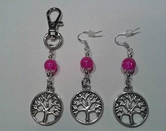 Earrings + bag tree of life with fuchsia beads.