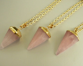 Rose Quartz Necklace  Rose Quartz pendant Long Necklace Healing Crystal Necklace for women Necklace Gold Necklace Rose Quartz Crystal