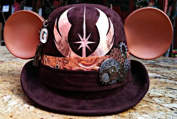 Adult Steampunk disney. Jedi disney. Steampunk. Derby Mickey Mouse Hat. Original Disneyland Hat. Mickey Mouse Ears. Custom Disney Hat.