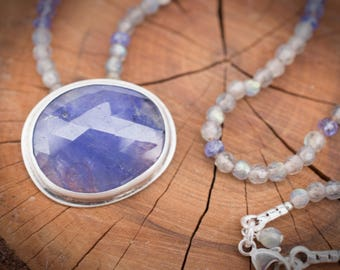 Tanzanite Necklace, Labradorite Necklace, Hand Knotted Necklace, Gemstone Necklace, Metalsmith Necklace, Handmade Gemstone Necklace