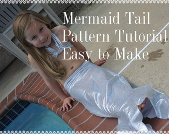 Mermaid Tail Pattern and Tutorial, 2 Sizes pdf, Instant Download, Dress Up Play