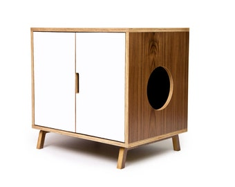 """Mid Century Modern Cat Litter Box Furniture   LARGE Cat Litter Box Cover   Pet House   Walnut Side Table   """"Standard Cabinet +Colored Doors"""""""