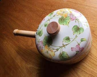 Vintage Enamel Sauce Pan, Floral Pan, Pink and Green, Pastel Pan, Kitchen Decor, Wedding Gift, AKA Sorority,  Kitchen Decor, Pretty Girls