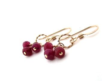 Delicate ruby earrings, red cluster earrings, July birthstone earrings, gold filled ruby jewelry, gold red earrings, ruby birthstone jewelry