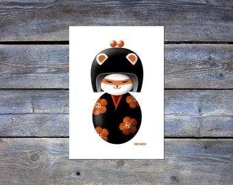 Kokeshi Doll Cat Art Print