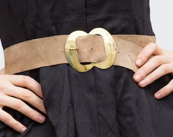 Vintage Beige Belt, Wide Suede Belt, Metal Buckle Belt, Women Accessories, Country Festival Belt