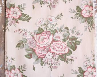 Rustic Floral Pattern Vintage Barkcloth Retro Farmhouse Cottage Bungalow Fabric Panels