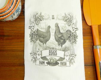 Rooster Chicken Towel Farmhouse Decor   Flour Sack Kitchen  Tea Towel