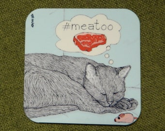 Cats coaster - Meatoo -  featuring Rafi, the famous Israeli cat from Ha'aretz Newspaper Comics