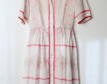 1930s Vintage Floral + Stripe Cotton Spring Dress