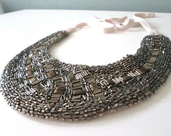 Statement necklace-Abundant beads on fabric