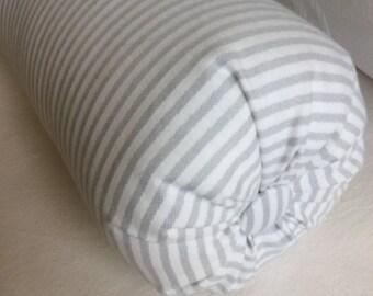 Ticking light gray bolster lumbar accent throw pillow 6x14 6x16 6x18 6x20 6x22