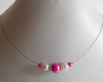 Rhinestone wedding necklace Fuchsia and white pearls
