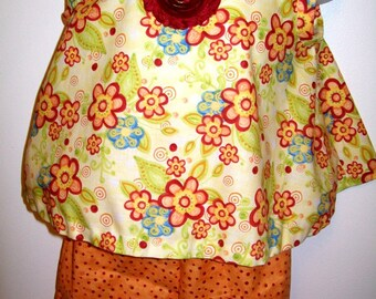 Orange and Burgundy Floral 12 months 3 piece Outfit - Sleeveless Swing Top - Pull on Pants - matching Felt Flower Headband
