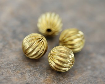Raw Brass Melon Beads, 10mm Round Melon Ball Beads.