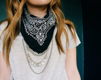 Black bandana with silver chain