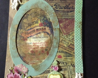 Art Card, Collage, Mixed-Media, Three Dimensional, Distressed, Shabby Chic