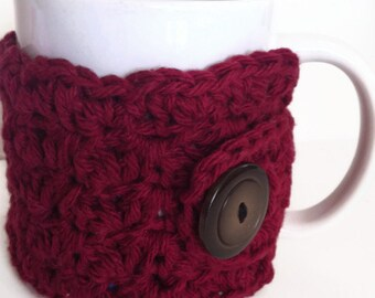 Crochet Coffee Cozy, Cup Burgundy Wine, Teacher Gift, Cup Cozy, Housewares, Drinkware, Coffee Lover Gift, Coffee Sleeve Warmer