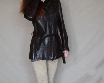 Vintage 70s/1970s leather jacket coat with belt Dark brown Braided epaulets Size S/small EU 34/36 US 4/6